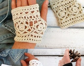 Brown Lace Glove - Hand Crochet fingerless - 2016 - Crochet wrist warmer fingerless gloves - Lace fingerless gloves - Romantic - Weddings.