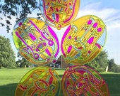 Fluorescent Acrylic Psychedelic Stained Glass Suncatcher /// Hamsa Hands ///