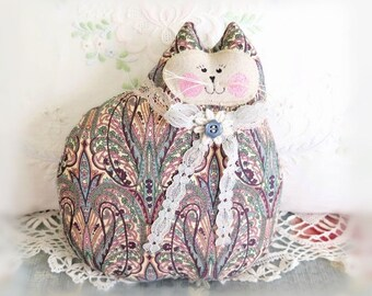 Cat Pillow Doll Cloth Doll 7 inch Cat, Cotton Print Fabric, Primitive Soft Sculpture Handmade CharlotteStyle Decorative Folk Art TeamHAHA