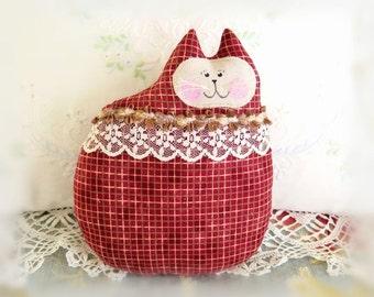 Fall Autumn Cat Pillow Doll Cloth Doll 7 inch Cat, Brick Red Fabric, Soft Sculpture Handmade CharlotteStyle Decorative Folk Art TeamHAHA