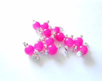 Bright Pink Glass Druk Dangle Beads