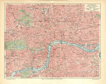 London City Centre Vintage Street Plan City Map 1920s England, United Kingdom