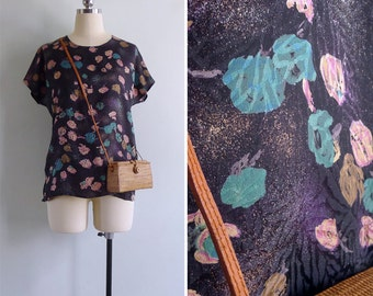 Vintage 80's Airbrush Abstract Floral Black Blouson Top S or M