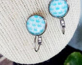 Blue Elephant Print Dome Glass Lever Back Dangle Earring