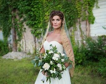 Bridal Veil Lace Gold Mantilla Wedding Veil, Cathedral Veil, Long Veil, Bridal Veil, Formal Fingertip Length Lace trimmed - Goldie - VE431