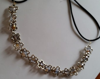 Silver Plated Crystal Beaded Flower Elastic Headband, for weddings, parties, special occasions
