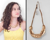 Gold NUGGET Necklace 90s Chicos 4 Strand Leather Cord Free Form Artsy