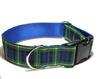 "Gordon Clan Tartan Dog Collar - 1.5"" (38mm) Wide - Wide Martingale or Side Release - Choice of collar style and size// Blue and Green Plaid"