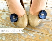 1 Pair of Navy Shoe Clips, Navy Blue Flower Clips for Shoes, Navy Bridesmaid Shoe Accessory, Wedding and Bridal Shoe Accessories, Decoration