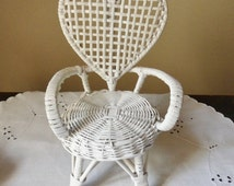 White Wicker Doll Chair, Miniature Rattan Heart Back Doll Chair, Miniature Peacock Chair