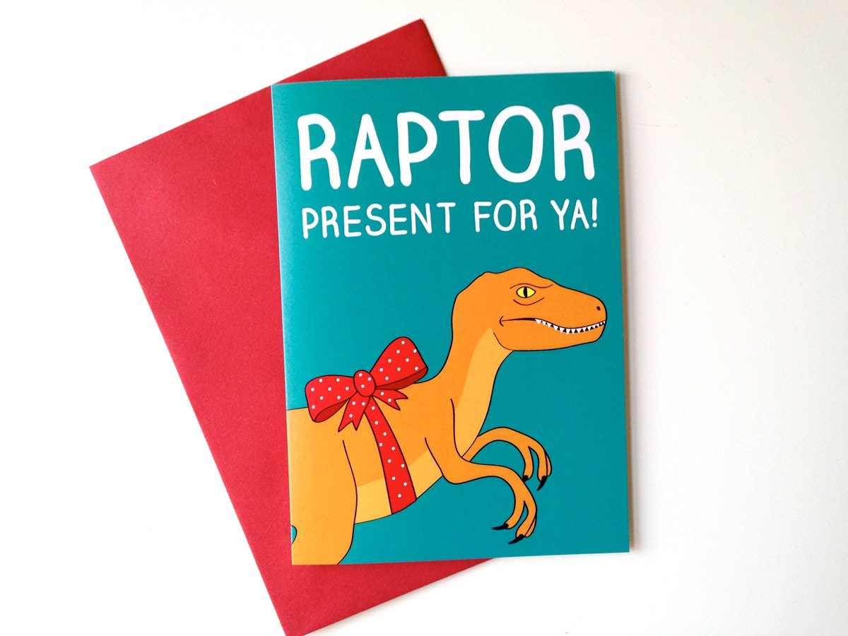 Funny Dinosaur Birthday Card Raptor Birthday card funny dino