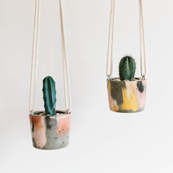 Hanging Concrete Planter / Planter / Pot Plant / Hanging Pot Plant ...