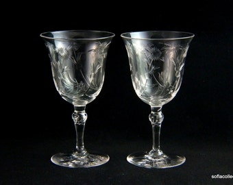 Claret Wine Glasses / Port Glasses or Sherry Glasses - Floral Cut Bowls with Decorated Stem and Foot - 1940s - 1950s - Pairs