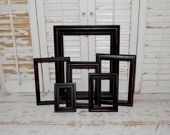 Distressed Black Frames Set Rustic Primitive Country Decor