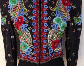Vintage gorgeous Jeanette St Martin silk black jacket pad shoulder embroidered beads sz S/M