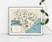 SOUTH CAROLINA MAP - Instant Digital Download - printable state map for framing, pillows, totes, mugs - vintage map art - fun home decor