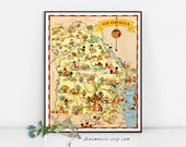 GEORGIA MAP - Enhanced High Res Digital Image Download - vintage map art for framing, totes, pillows & cards - charming home decor - map art