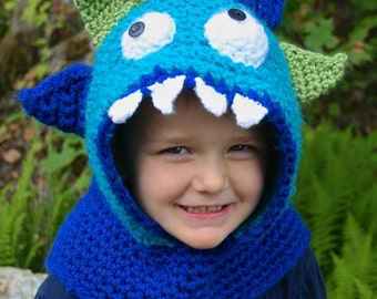 Monster Hooded Cowl Crochet PATTERN - CROCHET PATTERN - Monster Hood Pattern