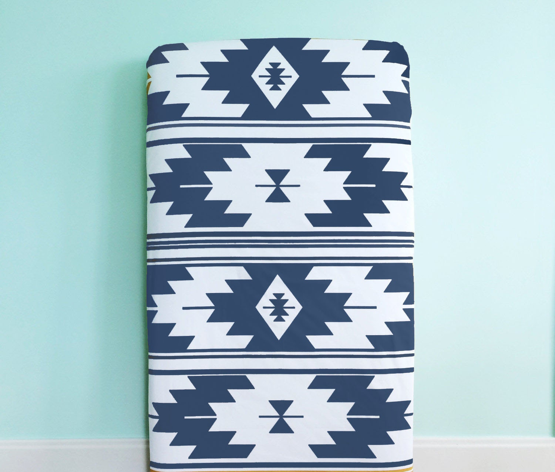 crib sheet navy kilim fitted crib sheet baby bedding crib. Black Bedroom Furniture Sets. Home Design Ideas
