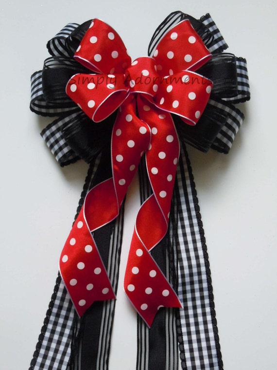 Black Red Wreath Bow Red Black Party decor Black Red Polka dots Birthday Party Decor Red Black Wedding Ceremony Decor Door hanger door Bow