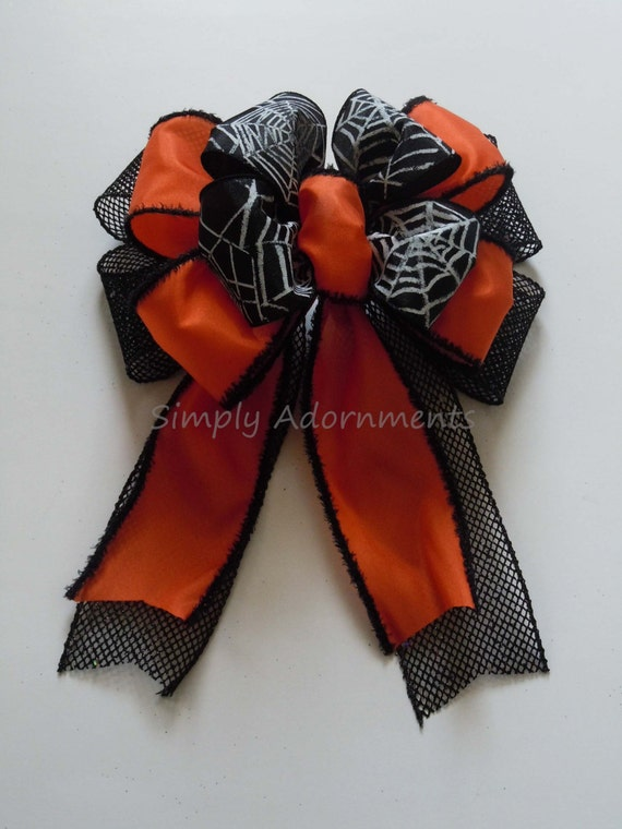 Orange Black Spider Web Bow Halloween Bow Halloween Spider Wreath Bow Halloween Wreath Door Bow Halloween Lantern Bow Halloween Gift Bow