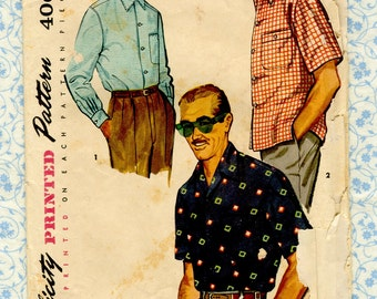 1950s Mens Sport Shirt 50s Vintage Sewing Pattern Simplicity 4981  Size Small, Neck 14  14.5 Complete
