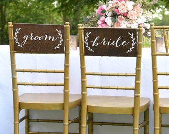 Bride and Groom Chair Sign, Bride and Groom Table Sign, Bride and Groom Signs, Bride Groom Chair Sign, Bride Groom Sign, Mr and Mrs signs
