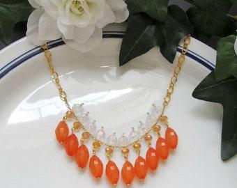 Orange Gold Clear Bib Necklace - Tribal Fringe Statement Bib Necklace - CLEARANCE