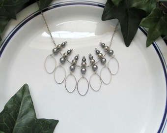 Silver Statement Bib Necklace - Gray Pearl Bib Fringe Hoop Necklace - CLEARANCE
