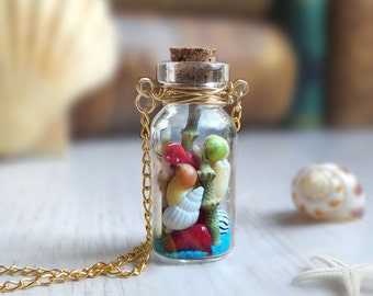 Exotic sea life vial necklace, beach lover gift, wire wrapped bottle necklace, summer ocean seashell necklace, mermaid costume accessory