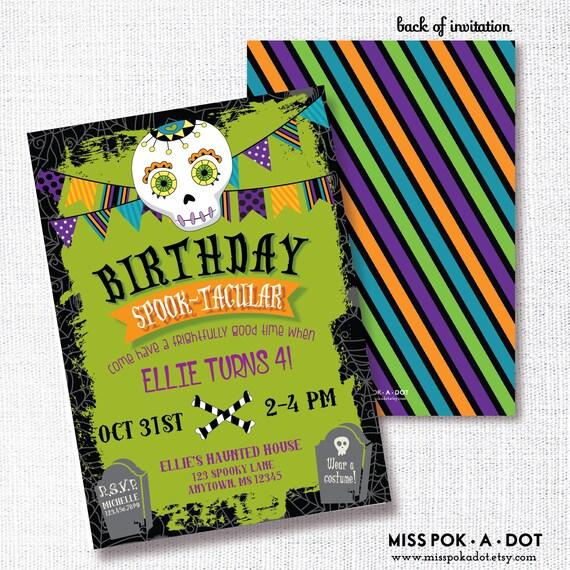 Halloween Birthday Party Invitation Printable Sugar Skull