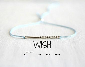 Wish Morse Code Silk Cord Bracelet Minimalist Motivational Jewelry Inspiration Bracelet Dainty Sterling Silver Bead Stack Bracelet