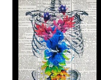 Skeleton Art, Pop Art Print Blue Rib Cage Anatomical Mixed Media Archival Print,size 8x10,Decorative art, drawing, portrait, Skeleton