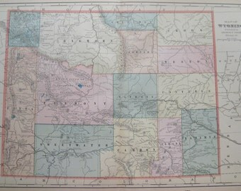 Vintage Wyoming Map Etsy - Wy state map