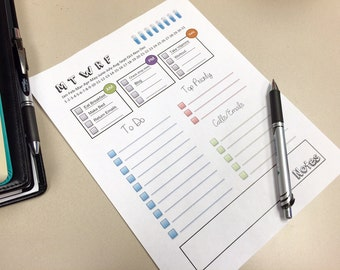 Daily Planner Printable - 8.5 X 11 - Editable Fields