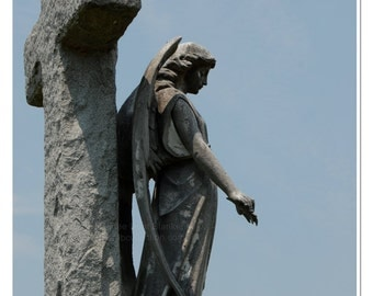 Angel at Cross Photo - Cemetery Angel Statue Photo - Angel Watching Over Print - Guardian Angel - theRDBcollection - Renee Dent Blankenship