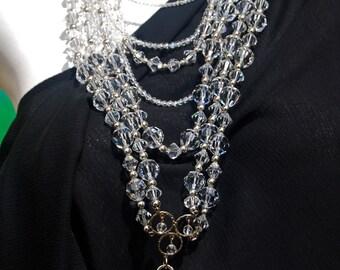 Long Multi Strand Statement Necklace, Swarovski Crystal Necklace, .925 Sterling Silver