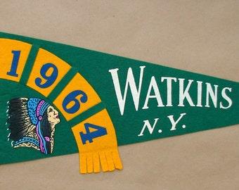 Vintage '1964 Watkins Glen N.Y.' and '1953 Watkins Glen N.Y.' New York Pennant