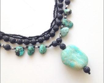 Natural Turquoise Necklace, Boho Western Style,triple strand necklace,Necklace,Rustic ,Blue Greenish Amazonite Pendant