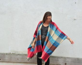 Fleece Cape: Blue and Red Plaid Fleece Blanket Kimono Poncho Cover Up Shawl Wrap