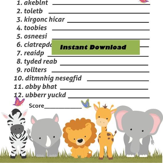 ... Zoo Baby Shower Baby Word Scramble Game, Baby Word Scramble, Printable