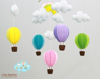 Pink rainbow hot air balloons hanging mobile - Balloons baby mobile- colorful balloons mobile - balloons and rainbow