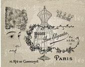 Paris fashion decor Printable graphic Digital download Image transfer for iron on burlap decoupage scrapbook pillow tote card paper No gt271