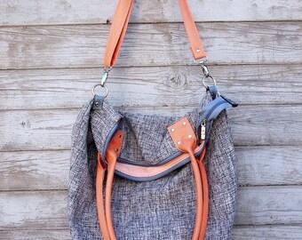 Gray Peach BASMATI Sack Bag with Handles and Strap