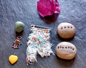 mixed media boro rag embroidered textile fiber collage textile art brooch jewelry badge pin kantha embroidery cute Graduation birthday gift