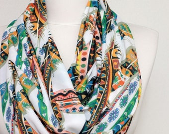 Colourful Ikat Feather Pattern Infinity scarf, Circle scarf, scarves, Tube scarf, spring - fall - winter - summer fashion