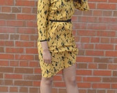 80s Yellow and Black Geometric / Abstract Print Dress