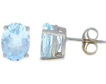 14Kt White Gold Aquamarine Oval Stud Earrings