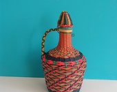French vintage multicolor wired wine Bottle, Vase, Water Jug, 1960s