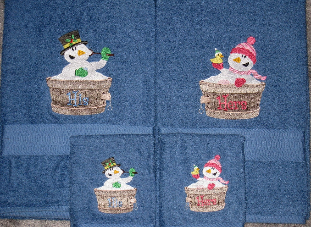His And Hers Snowmen In A Tub Bath Towel Set Winter Fun